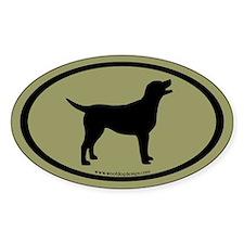 labrador retriever oval (blk/sage) Oval Decal