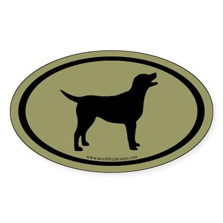 labrador retriever oval (blk/sage) Oval Sticker