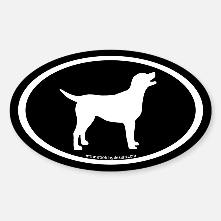labrador retriever oval (white/blk) Oval Decal