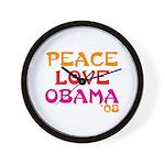 Peace, Love, Obama Wall Clock