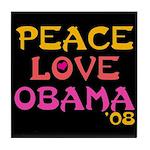 Peace, Love, Obama Tile Coaster