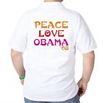 Peace, Love, Obama Golf Shirt