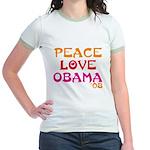 Peace, Love, Obama Jr. Ringer T-Shirt
