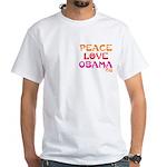 Peace, Love, Obama White T-Shirt