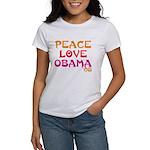 Peace, Love, Obama Women's T-Shirt