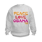 Peace, Love, Obama Kids Sweatshirt