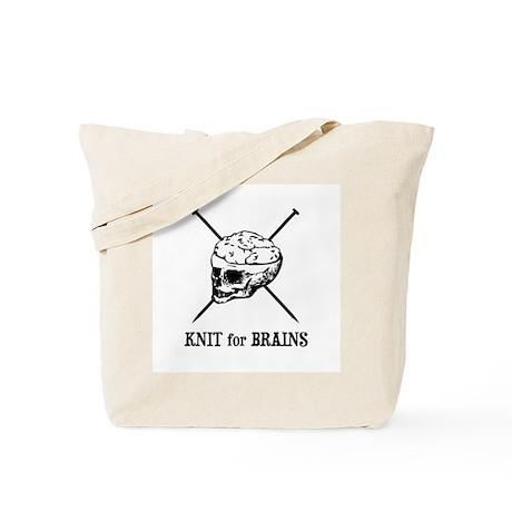 Knit for Brains - Brains Skull Tote Bag