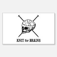 Knit for Brains - Brains Skull Rectangle Decal