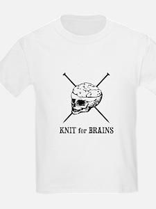 Knit for Brains - Brains Skull T-Shirt