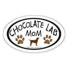 Chocolate Lab Mom Oval Decal