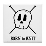 Born to Knit - Pirate Skull Tile Coaster