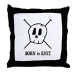 Born to Knit - Pirate Skull Throw Pillow