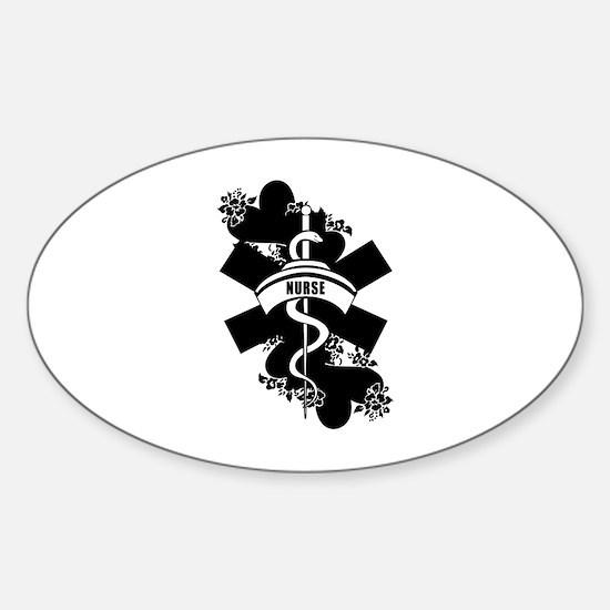 Nurse Heart Tattoo Sticker (Oval)