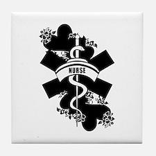 Nurse Heart Tattoo Tile Coaster