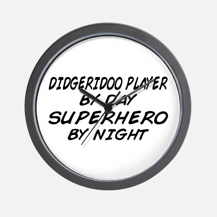 Didgeridoo Superhero by Night Wall Clock