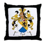 Paul Family Crest Throw Pillow