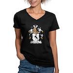Passow Family Crest Women's V-Neck Dark T-Shirt