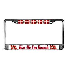 Kiss Me I'm Danish License Plate Frame