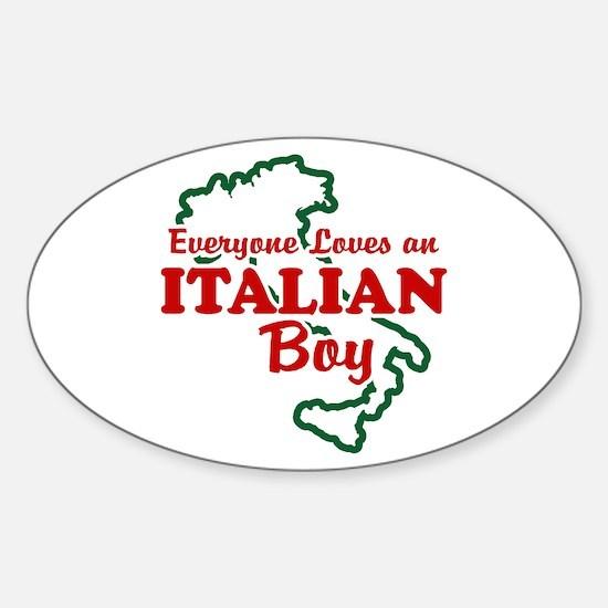 Everyone Loves an Italian Boy Oval Decal
