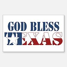 God Bless Texas Rectangle Decal