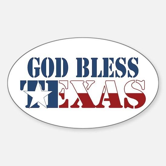 God Bless Texas Oval Decal