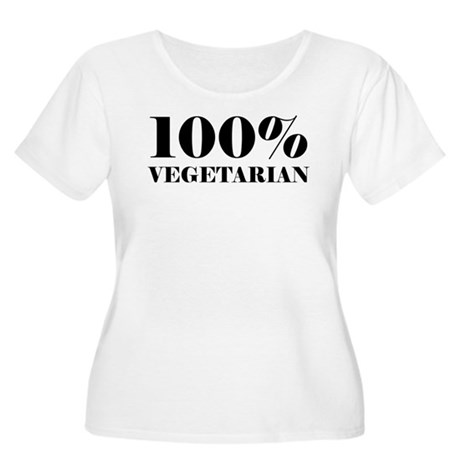 100% Vegetarian Women's Plus Size Scoop Neck T-Shi