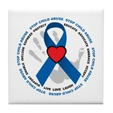 Stop Child Abuse Ribbon Tile Coaster