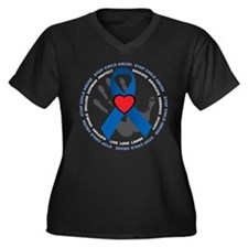 Stop Child Abuse Ribbon Women's Plus Size V-Neck D