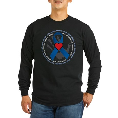 Stop Child Abuse Ribbon Long Sleeve Dark T-Shirt