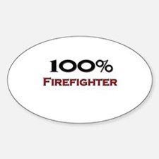 100 Percent Firefighter Oval Decal