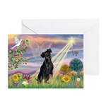 Cloud Angel Min. Pinscher Greeting Cards (Pk of 1