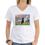 Cloud Angel Min. Pinscher Women's V-Neck T-Shirt