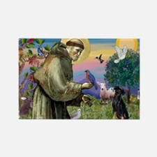 St. Francis & Min Pin Rectangle Magnet