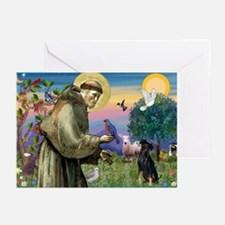 St. Francis & Min Pin Greeting Cards (Pk of 20)
