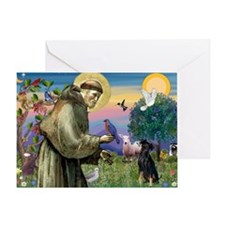 St. Francis & Min Pin Greeting Card