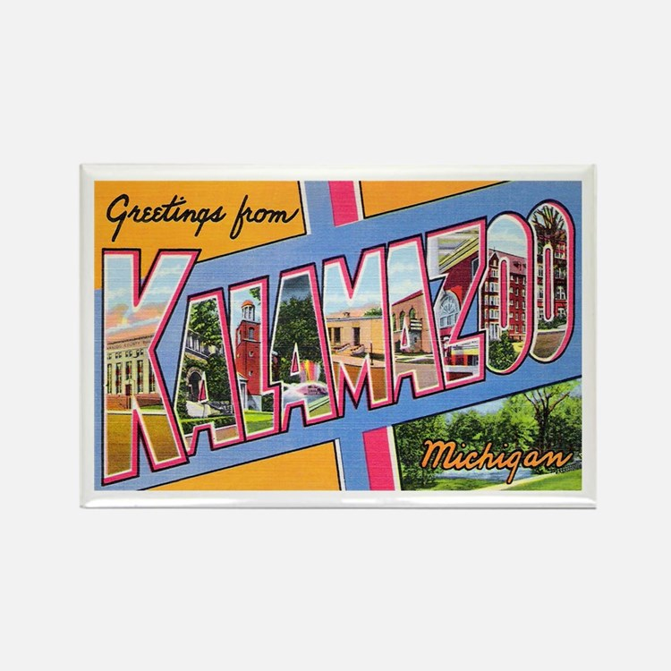 Kalamazoo Michigan Greetings Rectangle Magnet