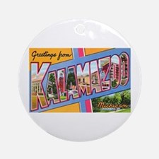 Kalamazoo Michigan Greetings Ornament (Round)