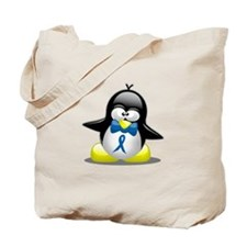 Blue Ribbon Penguin Tote Bag