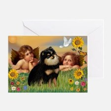 Angels / Pomeranian (b&t) Greeting Card