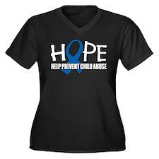 HOPE: Child Abuse Women's Plus Size V-Neck Dark T-