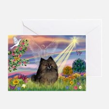Cloud Angel Brindle Pom Greeting Card