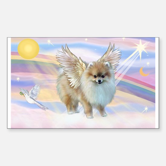 Clouds & Pomeranian Angel Rectangle Decal