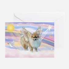 Clouds & Pomeranian Angel Greeting Cards (Pk of 10