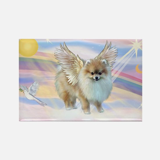 Clouds & Pomeranian Angel Rectangle Magnet