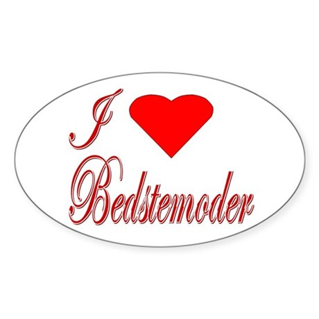 I Love Bedstemoder Oval Sticker