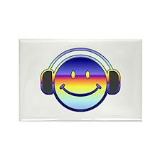 Smiley Headphones Rectangle Magnet