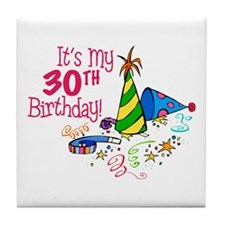 It's My 30th Birthday (Party Hats) Tile Coaster