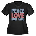 Peace Love Ron Paul Women's Plus Size V-Neck Dark