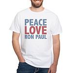 Peace Love Ron Paul White T-Shirt