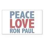 Peace Love Ron Paul Rectangle Sticker 10 pk)